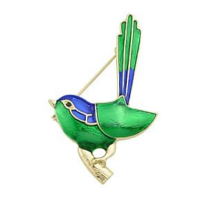 hesapli Broşlar-Kadın's Broşlar Kuş Bayan Temel Moda Broş Mücevher Yeşil Uyumluluk Parti / Gece Günlük Randevu Tatil