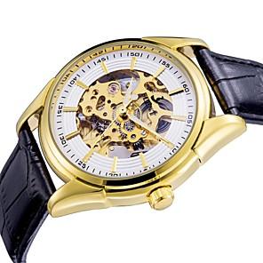 Недорогие Механические часы-ASJ Муж. Нарядные часы Часы со скелетом Механические часы С автоподзаводом Роскошь С гравировкой Кожа Стеганная ПУ кожа Черный Аналоговый - Белый Золотой