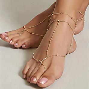 ieftine Bijuterii de Corp-Sandale Desculț picioare bijuterii femei Vintage Pentru femei Bijuterii de corp Pentru Zilnic Concediu Aliaj Auriu