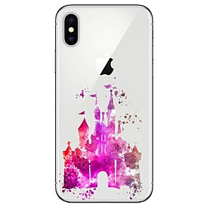 ieftine Carcase iPhone-Maska Pentru Apple iPhone X / iPhone 8 Plus / iPhone 8 Transparent / Model Capac Spate Decor / city ​​View Moale TPU
