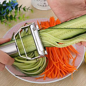 abordables Gadgets & Ustensiles de Cuisine-accessoires de cuisine outils de cuisine multifonction en acier inoxydable julienne éplucheur éplucheur à légumes râpe à raboter double