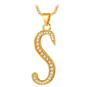 povoljno Naušnice-Muškarci Žene Kubični Zirconia mali dijamant Ogrlice s privjeskom Ime Alphabet Shape Sova Moda Zircon Kamen Zlato Pink 55 cm Ogrlice Jewelry Za Dnevno