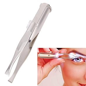 ieftine Gadget Baie-lumina din oțel inoxidabil pensetă portabil condus spranceană clip pince un epiler pensete instrument de îndepărtare a părului