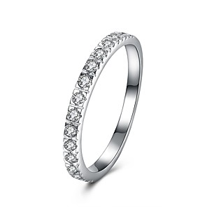 ieftine Inele-Pentru femei Band Ring Micro inel de pavele Zirconiu Cubic diamant mic Argintiu S925 Sterling Silver Circle Shape femei Modă Small Cadou Zilnic Bijuterii