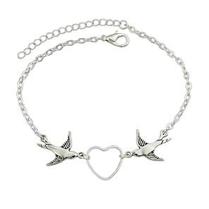 ieftine Brățări-Pentru femei Brățări cu Lanț & Legături Bratari din piele Sculptură Pasăre Inimă femei Vintage De Bază Piele  Bijuterii brățară Argintiu Pentru Dată Stradă