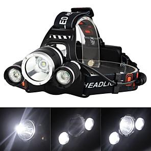 ieftine Frontale-Frontale Becul farurilor Reîncărcabil 3000 lm LED 3 emițători 4.0 Mod Zbor cu Baterii și Încărcătoare Reîncărcabil Mască exterioară lanternă Camping / Cățărare / Speologie Voiaj Priză EU Priză AU