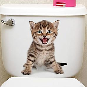 ieftine Ustensile & Gadget-uri de Copt-Animale / #D Perete Postituri Animal Stickers de perete Autocolante toaletă, Vinil Pagina de decorare de perete Decal Toaletă / Frigider Decor 1 buc / Detașabil / Re-poziționabil