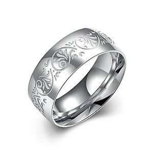povoljno Naušnice-Muškarci Band Ring zamotajte prsten 1pc Srebro Tikovina Titanium Steel Circle Shape Osnovni Cool Dnevno Rad Jewelry