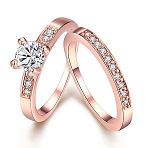 ieftine Inele-Pentru femei Band Ring Set de inele Inele Midi Diamant Zirconiu Cubic diamant mic 2pcs Roz auriu Argintiu Articole de ceramică Placat Auriu Placat Cu Aur Roz Circle Shape femei Simplu Modă Nuntă Cadou