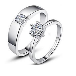 ieftine Inele-Pentru cupluri Inele Cuplu Zirconiu Cubic Argintiu Argilă neregulat femei Clasic Modă Zilnic Logodnă Bijuterii Solitaire potrivire Și ea Fulg