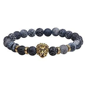 ieftine Brățări-Bărbați Piatra vulcanică Brățări cu Mărgele Χάντρες Leu chakra Vintage Modă EQUILIBRIO Piatră Bijuterii brățară Negru / Maro / Auriu Pentru Cadou Stradă
