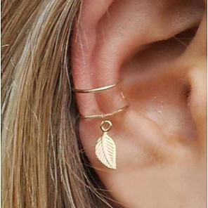 ieftine Cercei-Pentru femei Cercei cu Clip Cătușe pentru urechi Un Cercel Geometric Leaf Shape Declarație femei Small cercei Bijuterii Auriu / Argintiu Pentru Serată Stradă 1 buc