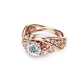 ieftine Haine Păpușă Barbie-Pentru femei Inel de logodna Diamant sintetic Maro deschis Articole de ceramică Placat Cu Aur Roz MetalPistol Circle Shape Geometric Shape femei Nuntă Modă Petrecere Dată Bijuterii Minge Confecționat