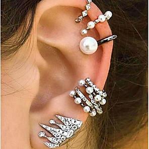 ieftine Cercei-Pentru femei Cercei cu Clip Cătușe pentru urechi Cercei Set mismatched femei Vintage Boem Έθνικ Boho Perle cercei Bijuterii Argintiu Pentru Serată Stradă 9buc