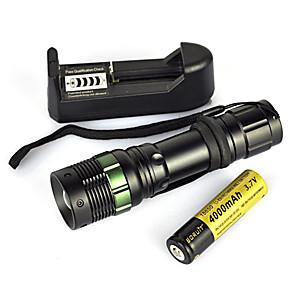 ieftine lanterne-Lanterne LED Lanterne  Manuale 900 lm LED emițători 1 Mod Zbor Cu Baterie și Încărcător Portabil Profesional Rezistent la uzură Camping / Cățărare / Speologie Vânătoare Negru