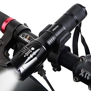 ieftine Lumini de Bicicletă-LED dublu Lumini de Bicicletă Lanterne LED Iluminat Bicicletă Față Becul farurilor Bicicletă Ciclism Rotație 360 ° Moduri multiple Foarte luminos Portabil 18650 1000 lm Încărcabil 18650 Alb Camping
