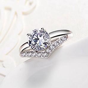ieftine Inele-Pentru femei Band Ring Diamant Zirconiu Cubic diamant mic Argintiu Articole de ceramică neregulat femei Clasic Modă Nuntă Logodnă Bijuterii simulat Fulg