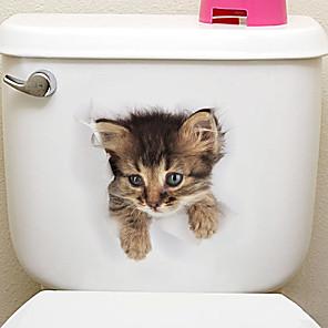 ieftine Acțibilde de Decorațiuni-Animale / #D Perete Postituri Animal Stickers de perete Autocolante toaletă, Vinil Pagina de decorare de perete Decal Toaletă / Frigider Decor 1 buc / Detașabil / Re-poziționabil