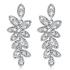 ieftine Cercei-Cristal Cercei Picătură Candelabru Leaf Shape femei Modă Elegant de Mireasă De Fiecare Zi Iced Out cercei Bijuterii Argintiu Pentru Nuntă Party / Seara