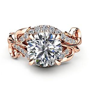 ieftine Inele-Pentru femei Inel de logodna Diamant sintetic Maro deschis Articole de ceramică Placat Cu Aur Roz MetalPistol Circle Shape Geometric Shape femei Nuntă Modă Petrecere Mascaradă Bijuterii Solitaire