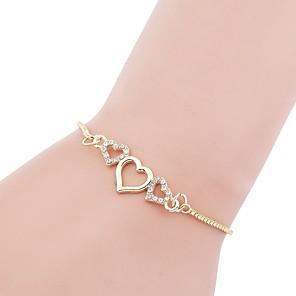 ieftine Brățări-Brățară Geometric Inimă Hollow Heart femei Modă MetalPistol Bijuterii brățară Auriu Pentru Cadou Bal Promisiune