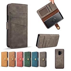 Недорогие Чехлы и кейсы для Galaxy S3-Кейс для Назначение SSamsung Galaxy S9 / S9 Plus / S8 Plus Кошелек / Бумажник для карт / Флип Чехол Однотонный Твердый Кожа PU