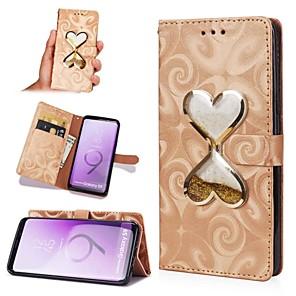 Недорогие Чехлы и кейсы для Galaxy S3-Кейс для Назначение SSamsung Galaxy S8 Plus / S8 / S7 edge Движущаяся жидкость Чехол С сердцем Твердый Кожа PU