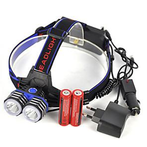 ieftine Frontale-Frontale 5000 lm LED 2 emițători 1 Mod Zbor cu Baterii și Încărcătoare Profesional Rezistent la uzură Ușor Camping / Cățărare / Speologie Utilizare Zilnică Scufundare / Canotaj Marea Britanie AU EU