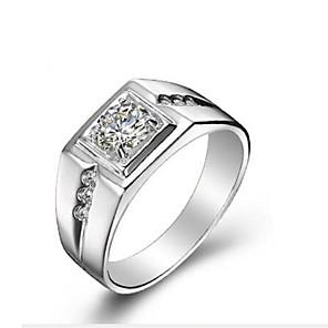 ieftine Inele-Bărbați Band Ring Zirconiu Cubic Argintiu S925 Sterling Silver Clasic Modă Zilnic Ceremonie Bijuterii