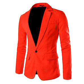 ieftine Blazer & Costume de Bărbați-Bărbați Muncă Primăvară / Toamnă Regular Blazer, Mată Guler Peter Pan Manșon Lung Bumbac / Poliester Roșu Vin / Albastru Deschis / Bleumarin / Ocazional afaceri / Zvelt