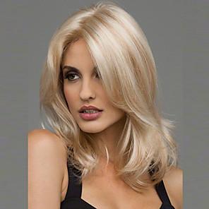 ieftine Peruci & Extensii de Păr-Peruci Sintetice Ondulat Ondulat Perucă Blond Mediu Negru Maro Blond Vișiniu Păr Sintetic 20 inch Pentru femei Rezistent la Căldură Partea Mijlocie Blond