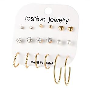 ieftine Cercei-Pentru femei Cercei Rotunzi Inimă femei Boem Modă Boho extravagant cercei Bijuterii Auriu / Argintiu Bowknot Shape Pentru Cadou Zilnic 18pcs