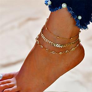 ieftine Bijuterii de Păr-Brățară Gleznă picioare bijuterii Plin de graţie femei Modă Pentru femei Bijuterii de corp Pentru Cadou Zilnic Multistratificat Aliaj Alphabet Shape Auriu Argintiu 1 buc