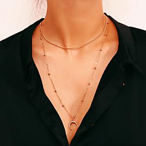 ieftine Colier la Modă-Pentru femei Coliere cu Pandativ Coliere Layered Multistratificat dublu corn femei Simplu La modă Modă Fier Auriu Argintiu 28 cm Coliere Bijuterii 1 buc Pentru Cadou Zilnic