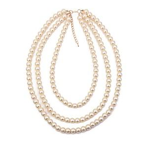ieftine Colier la Modă-Pentru femei Lănțișor Suvite de perle Multistratificat Declarație femei Vintage Modă Imitație de Perle Aliaj Alb 40+5 cm Coliere Bijuterii 1 buc Pentru Serată Gril pe Kamado  / Colier lung,