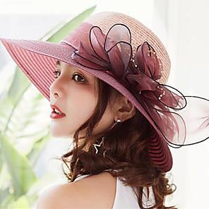 ieftine Pălării Femei-Pentru femei Kentucky Derby Mată Bufantă Activ Nuntă,Paie Dantelă-Paie Căciulă Vară Gri Fucsia Roșu Vin