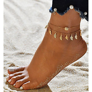 ieftine Bijuterii de Corp-Brățară Gleznă picioare bijuterii femei Dublu Stratificat Pentru femei Bijuterii de corp Pentru Ieșire Bikini Aliaj Leaf Shape Auriu Argintiu