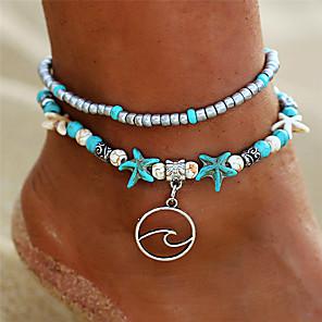 ieftine Ustensile & Gadget-uri de Copt-Brățară Gleznă picioare bijuterii femei Boho Boem Pentru femei Bijuterii de corp Pentru Concediu Bikini Multistratificat Turcoaz Aliaj Floare Stea de mare Turcoaz 1 buc