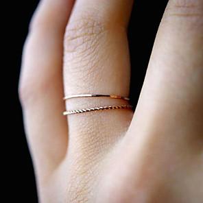 ieftine Inele-Pentru femei Inel Set de inele Tail Ring 1 buc Auriu Aliaj Rotund femei Neobijnuit Simplu Zilnic Serată Bijuterii Funie Double Twine Răsucit Faza lunii