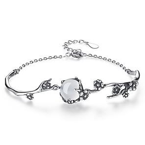 ieftine Brățări-Pentru femei Jad Piatră prețioasă Brățări cu Lanț & Legături Floare femei Modă Aliaj Bijuterii brățară Argintiu Pentru Zilnic Oficial