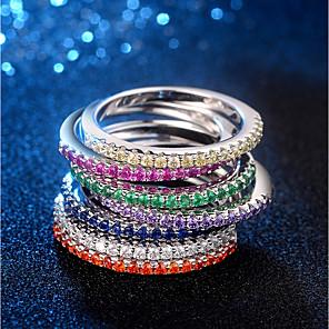 ieftine Inele-Pentru femei Inel Eternity Ring 1 buc Alb Mov Galben Articole de ceramică Placat cu platină Diamante Artificiale femei Elegant La modă Zilnic Dată Bijuterii Stl Αστέρι Heart Încântător