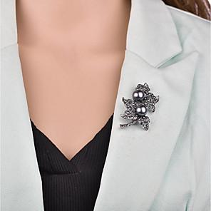 Χαμηλού Κόστους Καρφίτσες-Γυναικεία Καρφίτσες 3D Λουλούδι κυρίες Βίντατζ Ευρωπαϊκό Απομίμηση Μαργαριταριού Καρφίτσα Κοσμήματα Μαύρο Για Βραδινό Πάρτυ Γραφείο & Καριέρα