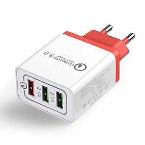 ieftine Mufă de încărcare-Încărcător Casă / Încărcător Portabil Încărcător USB Priză EU QC 3.0 3 Porturi USB 4.8 A 100~240 V pentru Παγκόσμιο