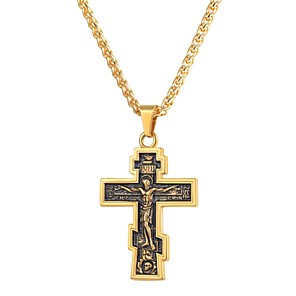 ieftine Coliere-Bărbați Coliere cu Pandativ Stil Vintage lanțul franco Σταυρός Crucifix Clasic Vintage Teak Negru Auriu Argintiu 55 cm Coliere Bijuterii 1 buc Pentru Cadou Zilnic