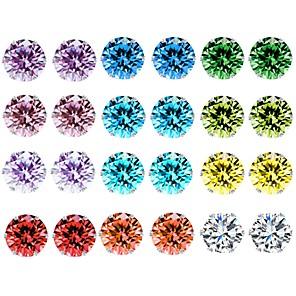 ieftine Cercei-Pentru femei Cristal Zirconiu Cubic Ametist Cercei Stud Funie Solitaire femei De Bază cercei Bijuterii Curcubeu Pentru Zilnic 12 perechi / citrin