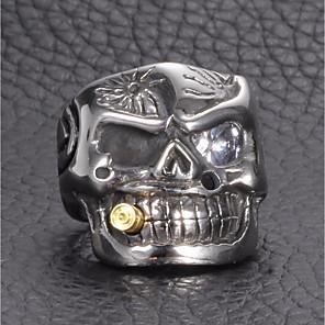 ieftine Inele-Bărbați Inel de declarație Zirconiu Cubic 1 buc Argintiu Ștras Oțel titan inox Declarație Vintage Punk Cadou Stradă Bijuterii Stl #D Mexican Sugar Craniu Craniu Creative Cool