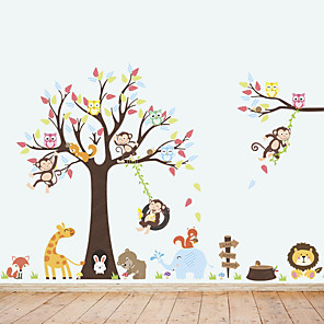 povoljno Ukrasne naljepnice-Životinje Zid Naljepnice Naljepnice za zidne zidove Dekorativne zidne naljepnice, Vinil Početna Dekoracija Zid preslikača Zid / Prozor Ukras 3pcs / Ponovno namjestiti