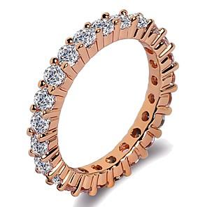 ieftine Inele-Pentru femei Band Ring Inel Eternity Ring 1 buc Roz auriu Argintiu Alamă Placat cu platină Placat Cu Aur Roz femei Clasic La modă Nuntă Cadou Bijuterii Stl Rundă Binecuvântat Credinţă Cool