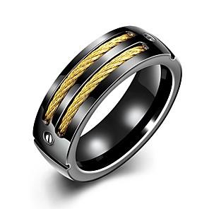 povoljno Naušnice-Muškarci Band Ring Prstenovi za utore 1pc Crn Pozlaćeni nehrđajući Circle Shape Jedinstven dizajn Vintage Dnevno Rad Jewelry Vintage Style Dvobojna Kreativan Cool