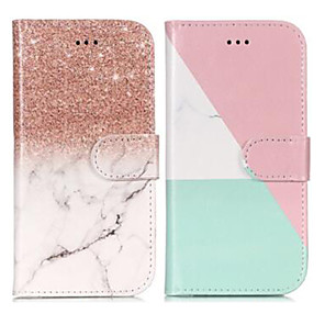 Недорогие Чехлы и кейсы для Galaxy S3-Кейс для Назначение SSamsung Galaxy S9 / S9 Plus / S8 Кошелек / Бумажник для карт / со стендом Чехол Мрамор Твердый Кожа PU